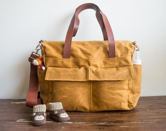 Waxed canvas bag, 9 pocket diaper bag, Waxed canvas diaper bag, Waxed canvas tote, Canvas tote bag, Leather canvas bag, Burnt yellow