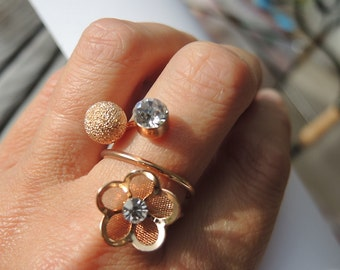 Gold plated adjustable ring with flower and pearl, Vintage Ring,gift for her,bridesmaid,bouquet,Wedding jewelry,Bridal jewelry