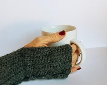 Wool Fingerless Gloves/Hand Warmers - OOAK Handmade Crochet