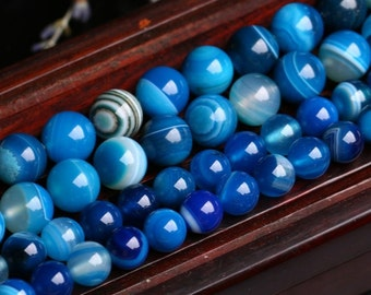 Natural Aagte stone beads 8mm blue round A grade jewelry making gems gemstones