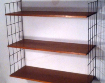 50s string shelf with teak floors