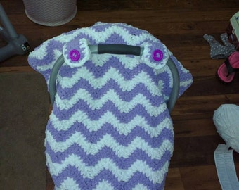 Handmade made to order chunky Chevron Baby car seat cover/canopy