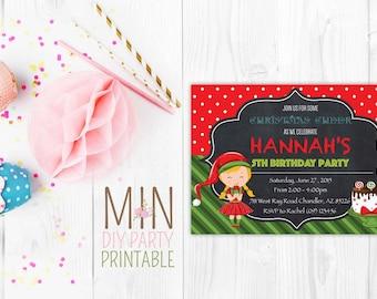 Christmas birthday Invite,Elf invitation, Christmas invitation, christmas birthday invitation, christmas chalkboard birthday invitation