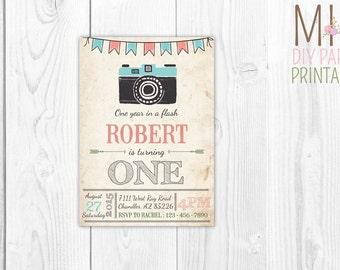 Camera invite,| Camera Birthday Invitation | Oh Snap! | First Birthday | First Birthday Party | One Year In a Flash Invitation