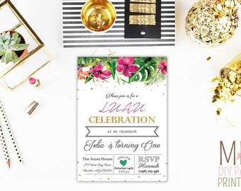 Glitter Hawaiian Luau Invite_3,Luau Party Invitation, Luau Invitation, Hawaiian Birthday Invitation, Hawaiian Invitation