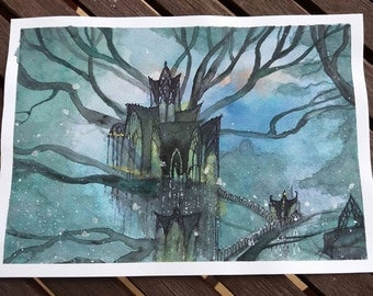 Lothlorien original watercolors painting