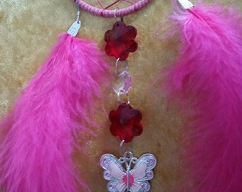 Dream Catcher in Pink with butterfly charm