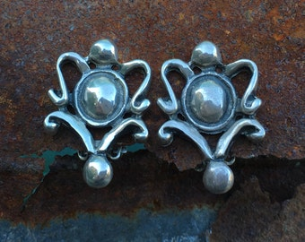 Sterling clip on earrings baroque framed beauties!