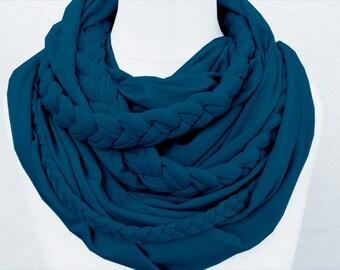 Zopfloop petrol / / Zopfschal / / braided scarf