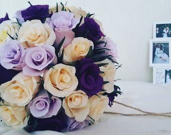 Purple Ivory Bridal Wedding Bouquet Crepe Paper Flowers
