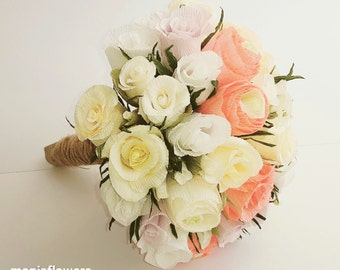 White Ivory Bride Wedding Bouquet Crepe paper Flowers, Bride Bouquet, Origami flowers, paper flowers, ivory roses