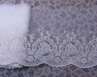 "Gorgeous Lovely Embroidered Tulle Lace Trim  Ivory 21cm(8.3"") Wide 1Yd #616"