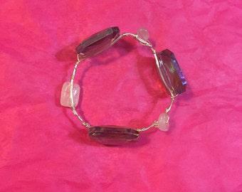 Silver wire wrap bangle. Handmade