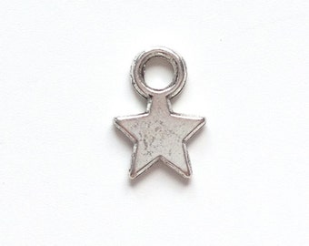 Silver, gold or bronze plated star charm 10x8mm - 2 pieces