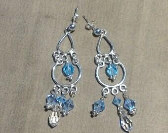 Sterling silver Blue Swarovski crystal chandelier post earrings