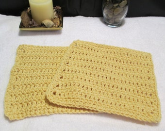 Light Yellow Dish Cloths/Dish Cloths/Kitchen Linens/Household Linens/Kitchen/Cloths/Crocheted Dish Cloths