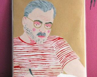 Ernest Hemingway Painted Illustration on Envelope