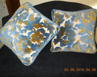 """1970's Blue and Avocado Green Crushed Velvet Floral 14"""" Pillows Set of 2"""