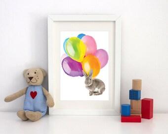 Bunny Rabbit Balloon Nursery Children Print
