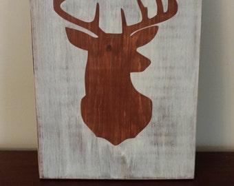 READY to SHIP.Deer Head Silhouette Hand Painted.Wall Art.Man Cave Wall Art.Wood Sign Deer Head.Rustic Wood Sign.Hunting Wood Sign.Deer Head.