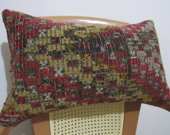 Hand woven vintage kilim pillow cover 12 x 20 Accent Pillow Decorative Lumbar Cover Organic Pillow Multi color Vegetable dyed kilim cushion