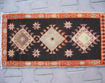 1'6''x3'1'' / 49x96cm Decorative Small Rug, Door Mat Rug, Entrance Wool Rug, Floor Mat Rug, Bohemian Mat Rug,