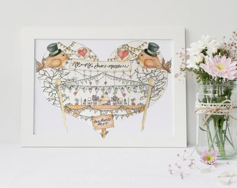 Mr and Mr Personalised personalized wedding print civil partnership gay wedding illustration art Birds Bunting Fairy Lights Male LGBT gift