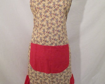 Women's Apron with Gray and Red Sock Monkeys