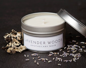 Lavender Sandalwood Scented Soy Candle in Travel Tin