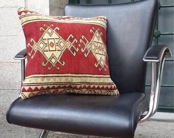 oushak rug pillow,rare design pillow,soft wool pillow,red color pillow,vitantage rug pillow,sofa pillow,home decor '18x'17 inc