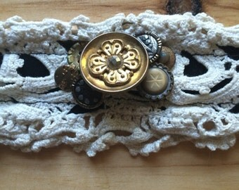 Lace and Antique Button Handmade Headband