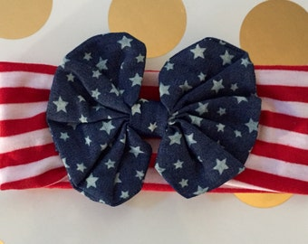 Red, white and blue Fourth of July baby toddler headband