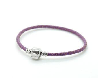 Purple Leather Bracelet, European Charm Leather Bracelet, Leather Bracelet.