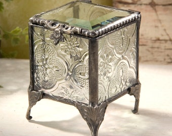 J. Devlin Clear Vintage - Antique Stained Glass Jewelry Box Ring Bearer Alternative 153-2