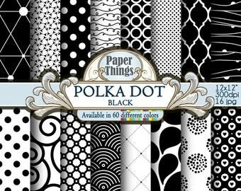 Black Polka Dot Digital Paper: Black Scrapbook Paper, Black Dots, White and Black Digital Polka Dot Background, Pattern