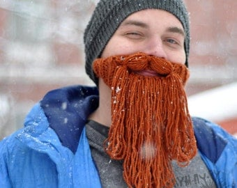 Beard Hat Crochet Hat Knitted Hat Handmade Winter Outdoor Hat and Face Warmer Funny Hat Ski Hat