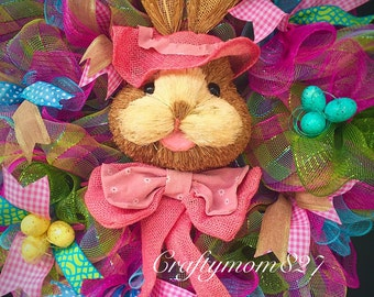 Easter wreath, Easter wreath,bunny wreath, spring wreath, Happy Easter decor, mesh wreath, mesh bunny wreath