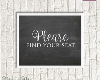 Please Find Your Seat Sign
