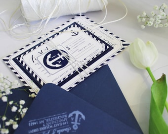 Navy Blue Envelopes and Custom White Ink Printing