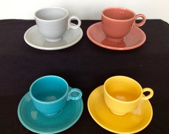 Vintage Fiestaware Cup and Saucer- Only Turquoise and Rose Left!!
