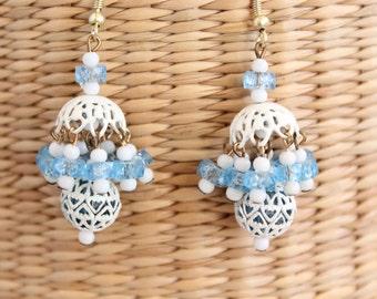 Vintage Chandelier Blue and White Earrings for Pierced Ears