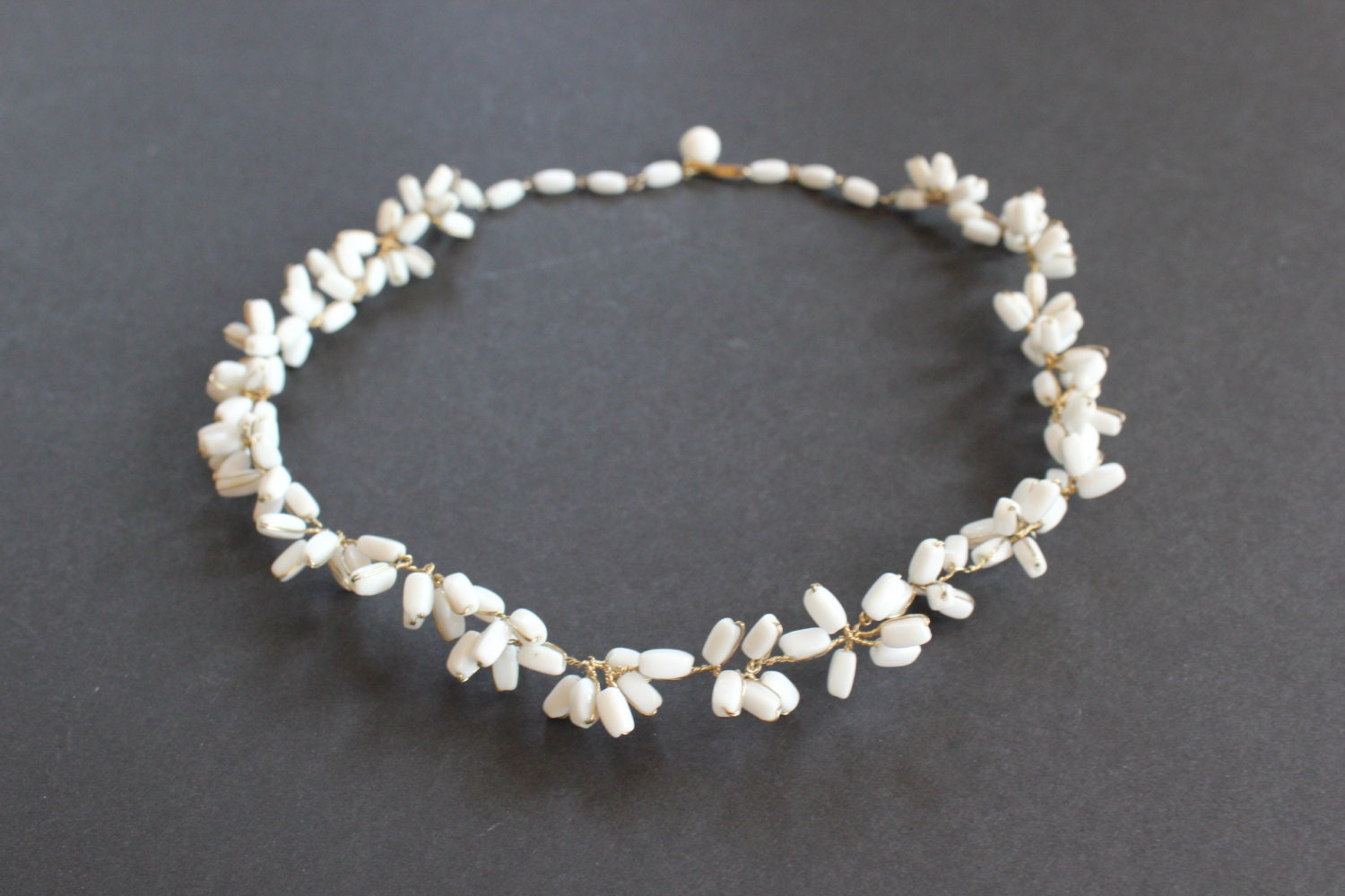 vintage white glass bead flower necklace wired milk glass bead