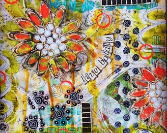 mixed-media collage (print):  live boldly