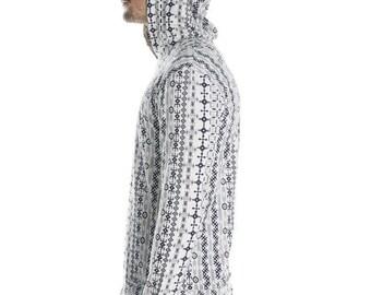 tribal men's long sleeves - men's festival hoodie - hippy african ethnic pattern -light men's jumper - funky festival clothing