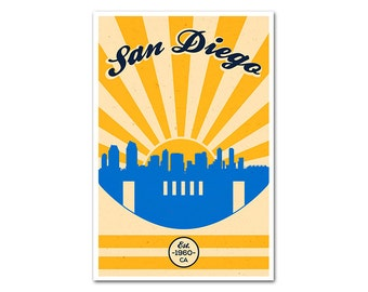 San Diego California Football Poster with a Vintage Look