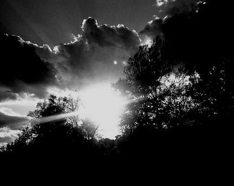 Good Morning Sun !!!! Beautiful Sunrise , Black and White Nature Photography , Trees and Clouds Floating in the Sky ... Digital Print