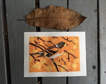 Brambling bird linocut print - hand-pulled, limited edition