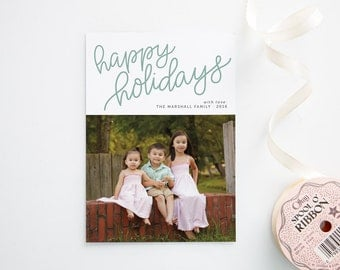 Photo Holiday Cards - Hand Lettering - Happy Holidays - Printed Christmas Cards with Photos