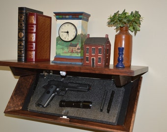 "23M ""SlimTim"", 23"" Pine Concealment Shelf Red Mahogany Stain"