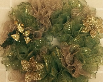 Sage and Gold mesh wreath
